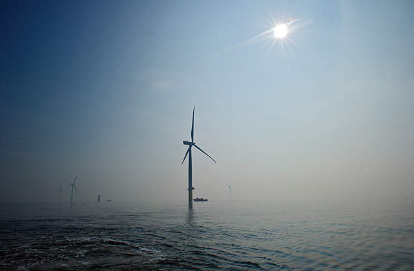 The London Array offshore wind farm is located in the outer Thames Estuary. Image courtesy of London Array Limited.