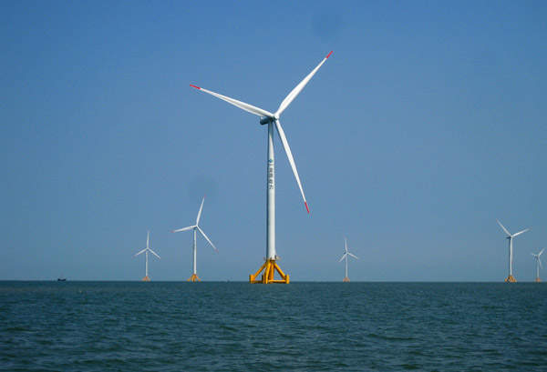 The 150MW Jiangsu Rudong Offshore wind project was completed in November 2012. Image courtesy of China Longyuan Power Group.