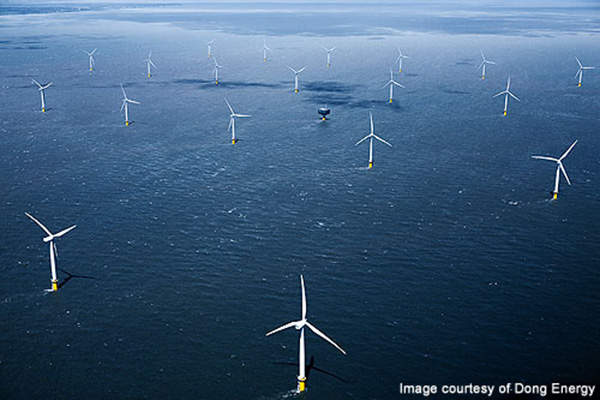 The 184MW Gunfleet Sands wind farm was built in two phases. Image courtesy of Dong Energy.