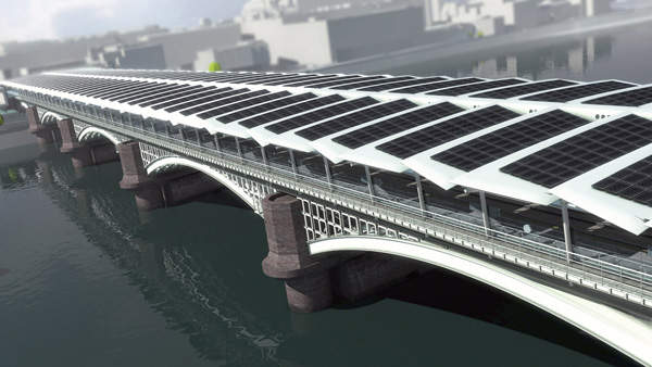The Blackfriars Solar Bridge on the River Thames will be the world's largest solar bridge. Image courtesy of solarcentury.co.uk and networkrail.co.uk.