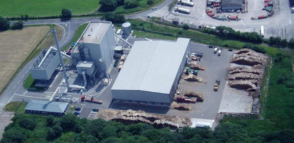 The Western Wood Energy biomass power plant in Wales produces power by burning wood chips. Image courtesy of Burmeister & Wain Scandinavian Contractor A/S.