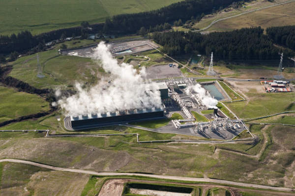 Aerial view of the Rotokawa II geothermal power station located in the north-east of Taupo in New Zealand. Image: courtesy of Mighty River Power.