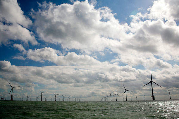 Thanet Offshore Wind Farm is a 300MW offshore wind power facility owned by Swedish energy company Vattenfall. Image courtesy of Jamie Cook.