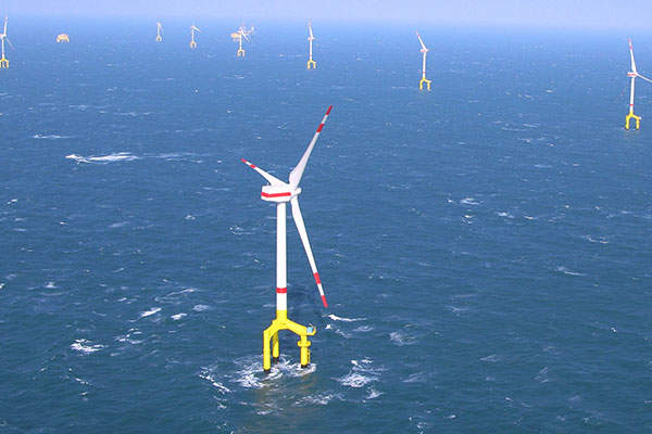 Aerial view of Germany's 400MW BARD Offshore 1 wind farm. Image: courtesy of BARD.