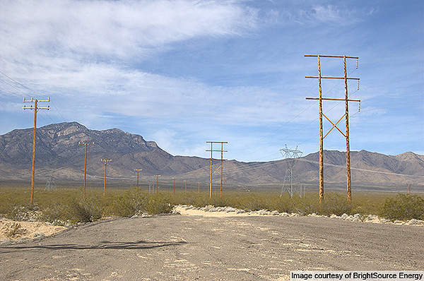 Transmission lines at the Ivanpah solar project site. Image courtesy of BrightSource Energy.