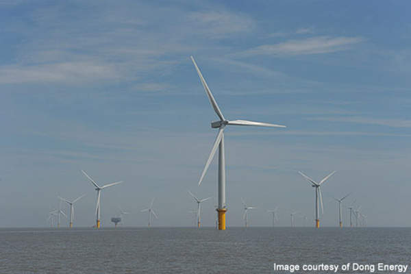 The Gunfleet Sands wind farm serves more than 125,000 European homes. Image courtesy of Dong Energy.