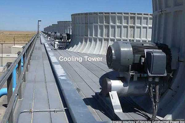 The cooling towers of Blue Mountain geothermal power plant.