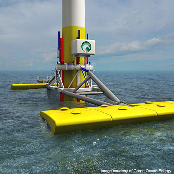 The Wave Treader consists of two arms and sponsons connected by an interface structure. Image courtesy of Green Ocean Energy.