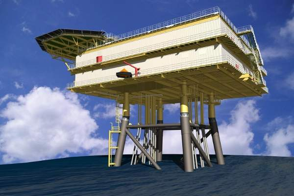 Artist's impression of the German offshore wind farm's 75m-high and 3,200t substation. Image: courtesy of Vattenfall.