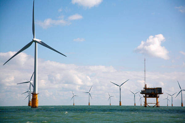 Thanet Offshore Wind Farm is located 11km off the coast of Thanet, Kent. Image courtesy of Jamie Cook.