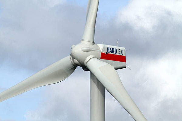 BARD Offshore 1 is installed with 80 BARD 5.0MW turbines. Image: courtesy of BARD.