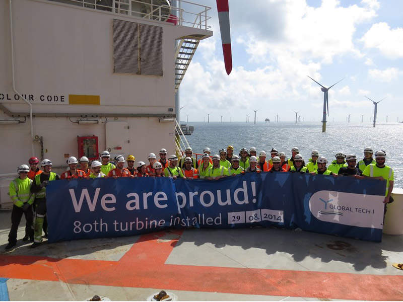 The installation of all the 80 turbines was completed in August 2014. Image: courtesy of Fred. Olsen Windcarrier.