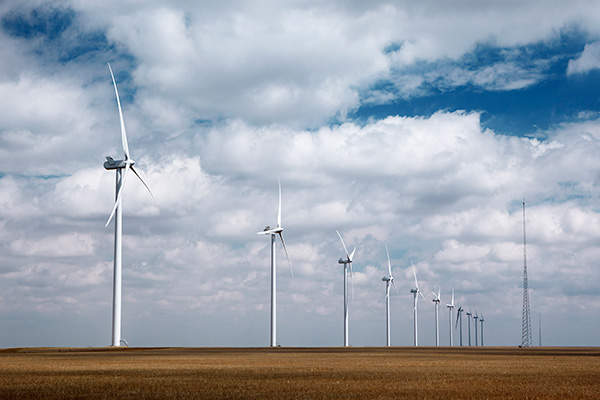 Cedar Point Wind Farm is installed with 139 Vestas V90-1.8MW wind turbines. Image courtesy of Enbridge.