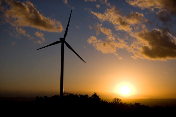 The wind farm is installed with 15 wind turbines, each with a capacity of 2MW. Image courtesy of Origin Energy.