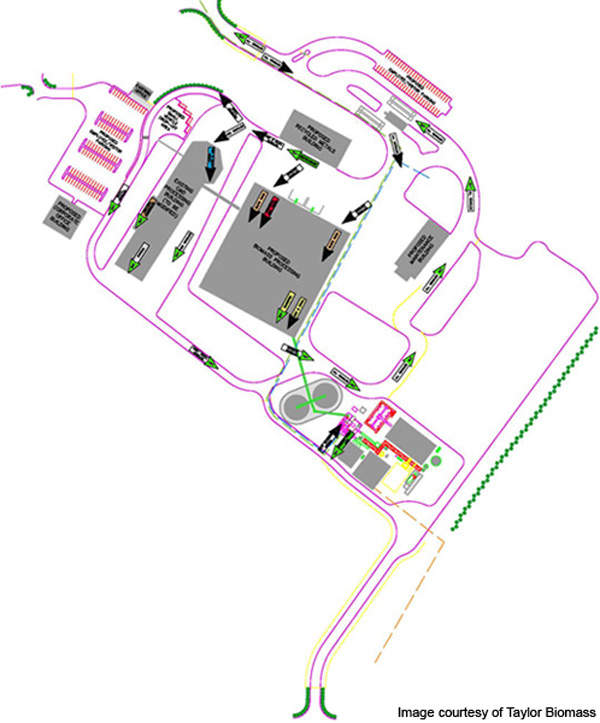 Layout of the Montgomery Biomass Power Plant. Image courtesy of Taylor Biomass Energy.