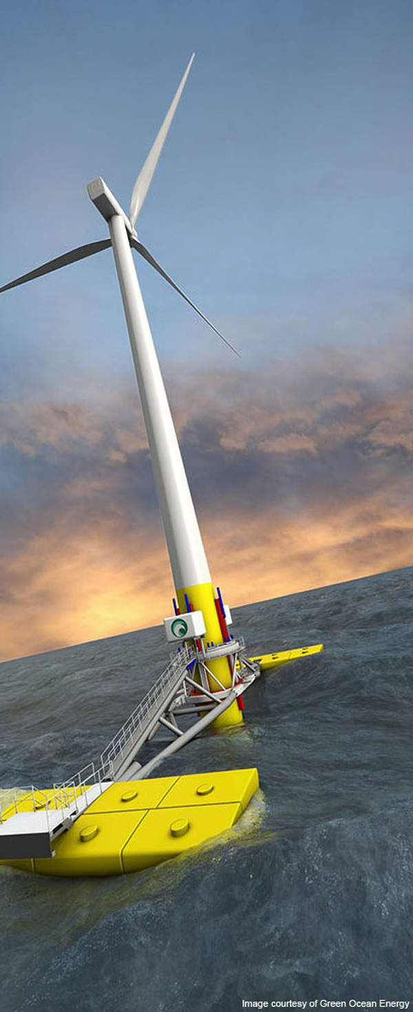 The unique wave energy device can improve the economics of wind farms. Image courtesy of Green Ocean Energy.