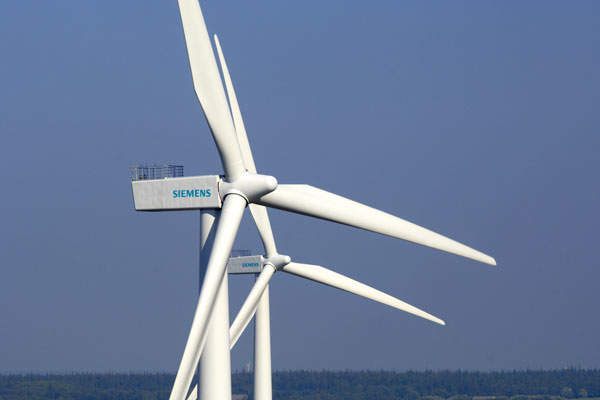 Siemens provided 140 2.3MW wind turbines for the Whitelee wind farm. Image courtesy of Siemens.