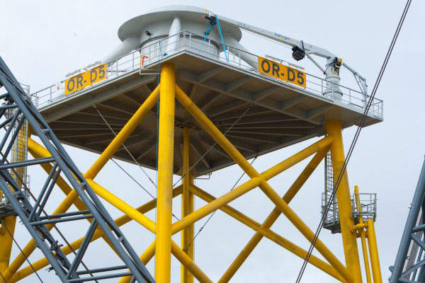 The wind turbines and substation are erected on four-legged steel jackets. Image courtesy of Vattenfall.