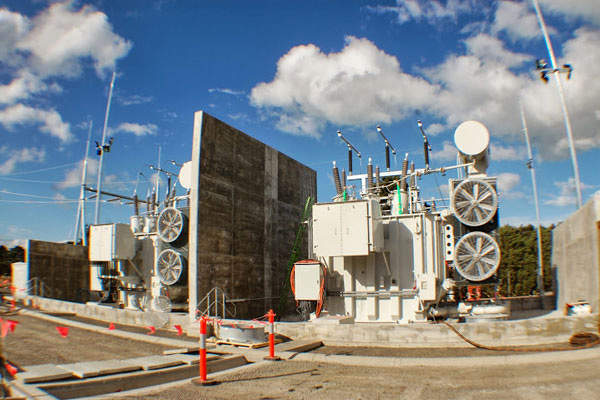 The wind farm includes a substation with two transformers and a switchyard. Image courtesy of Meridian Energy Limited.