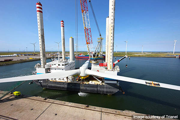The turbines being handled by a ship. Image courtesy of Trianel.