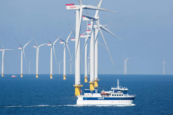 The wind turbines are installed in water depths ranging from 15m to 19m.