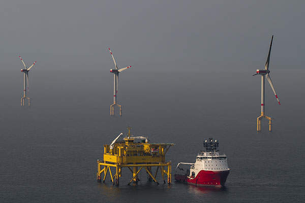 The Borwin I (Alpha) platform serves the BARD Offshore 1 wind farm. Image: courtesy of BARD.