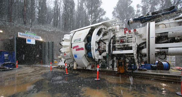 The tunnel boring machine was supplied by Robbins. Image courtesy of AGL Energy.