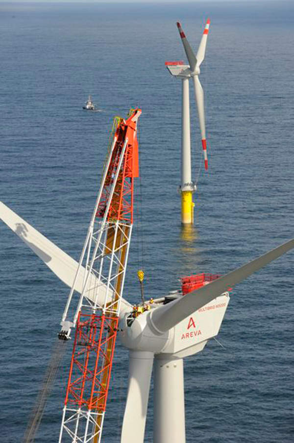 The turbines were carried by a barge to the offshore site and installed using cranes. Image courtesy of Trianel.