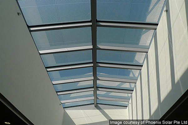 BIPV Skylight modules as seen from inside Applied Materials' Singapore Operations Centre.