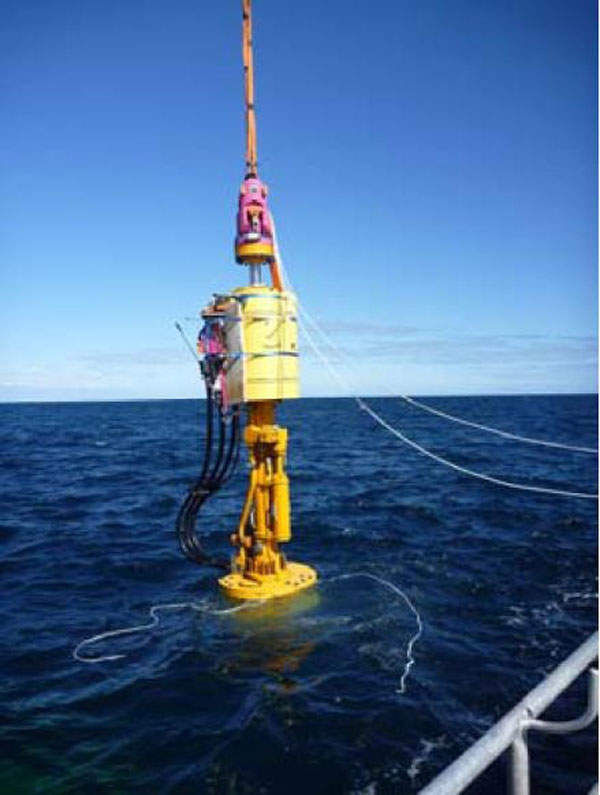 Installation of the CETO unit in offshore waters. Image courtesy of Carnegie Wave Energy Limited.