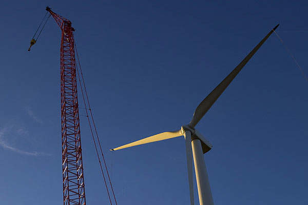 The wind turbines at Nobles are 389ft tall. Image courtesy of Xcel Energy.