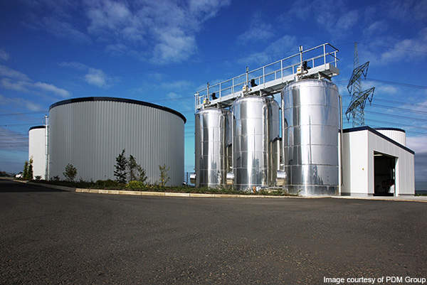 Anaerobic digesters (steel) at the ReFood biogas power plant. Image courtesy of PDM Group.