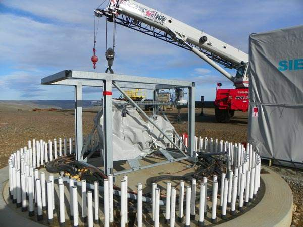 Foundations being prepared for the erection of the turbine towers. Image courtesy of Puget Sound Energy.