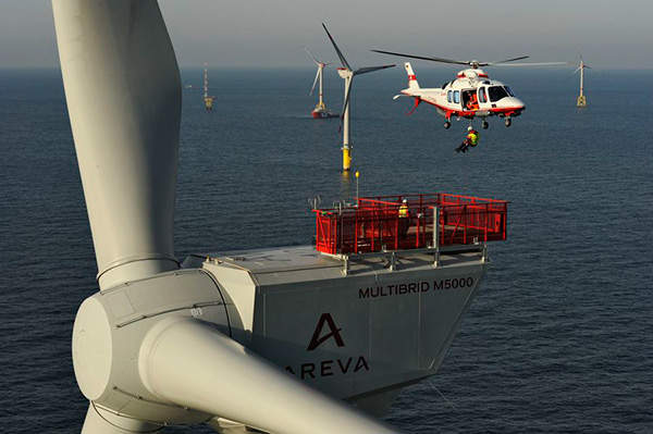 Areva is supplying its Multibrid M5000 turbines for the Borkum West II wind farm. Image courtesy of Trianel.