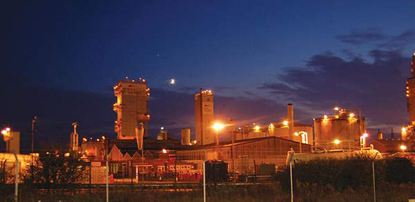 View of the plant during night. Image courtesy of Burmeister & Wain Scandinavian Contractor A/S.