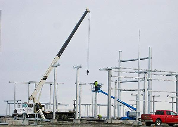 The substation near Pomeroy during construction phases. Image courtesy of Puget Sound Energy.