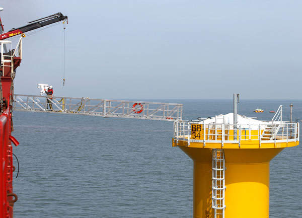 The monopole foundations used in the Burbo offshore wind farm were designed by Ramboll and supplied by Smulders Foundations.