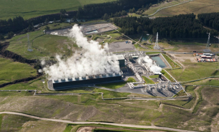 Aerial view of the Rotokawa II geothermal power station located in the north-east of Taupo in New Zealand.